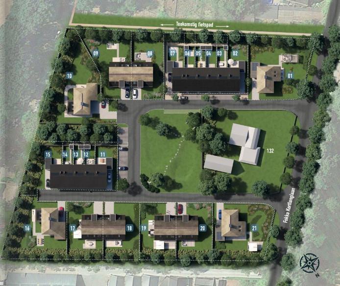 Plattegrond van de toekomstige nieuwbouwwijk