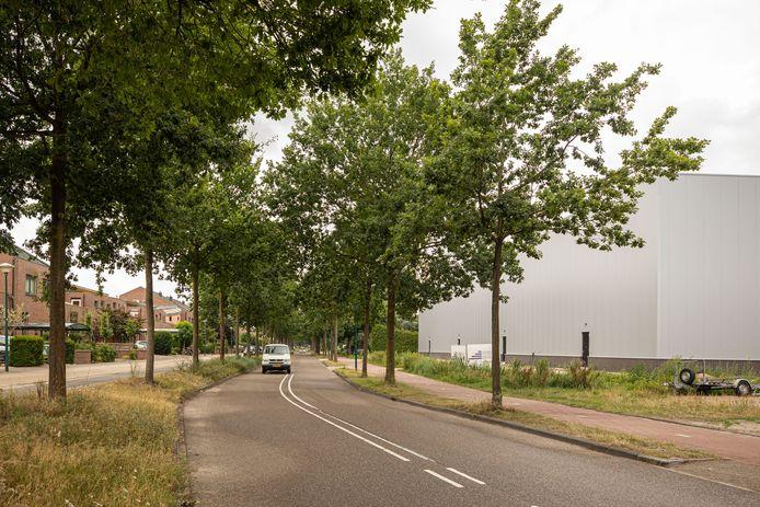 De Dorresteinweg met links de parallel daaraan lopende Sloothaak en rechts de bedrijfshal van Keune van 11 meter hoog.