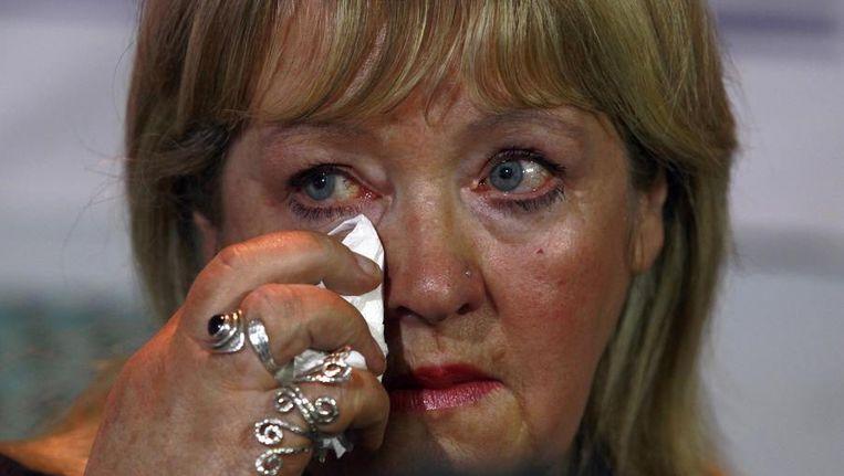 Maureen Sullivan, een van de vrouwen die in een Magdalene Laundry te werk werden gesteld, op de dag van verschijning van het rapport in Dublin. Beeld reuters