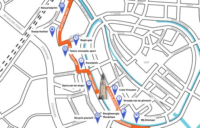 De route tijdens Koningsdag 2019 in Amersfoort.