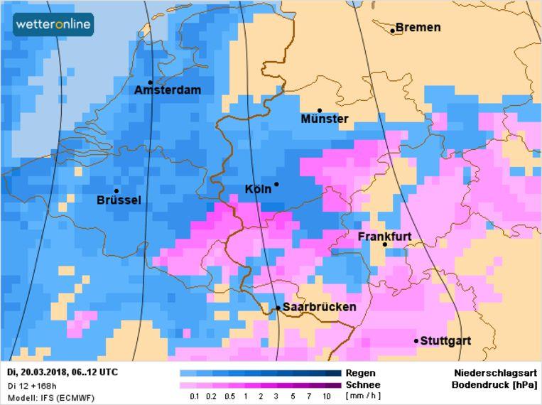 Samen met de wolken nemen ook de neerslagkansen opnieuw toe op dinsdag. In de Ardennen kan er lokaal eerst sneeuw vallen.