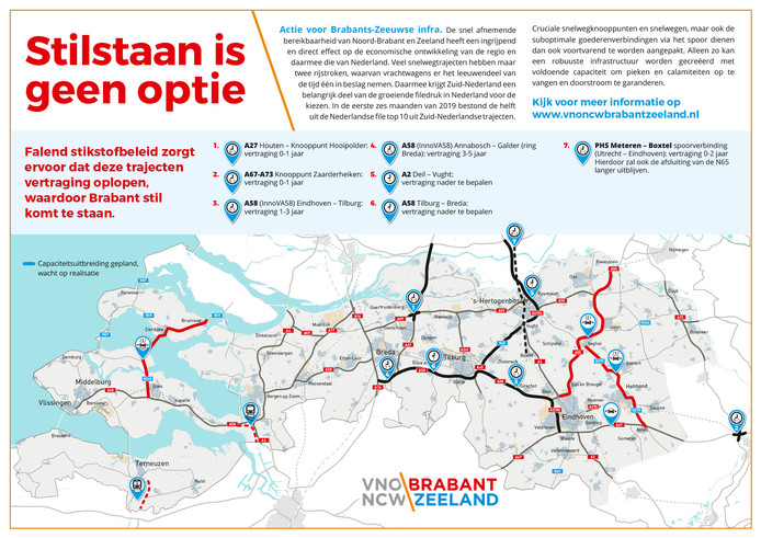 Een kaart van infrastructurele projecten in Brabant en Zeeland die door de stikstofproblemen vertraagd zijn