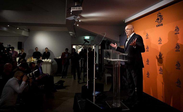 Michael van Praag tijdens de persconferentie. Beeld anp