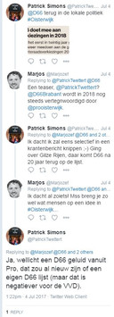 D66-lid Marjos Versleijen reageert op D66-tweet van het Oisterwijkse VVD-raadslid Patrick Simons.