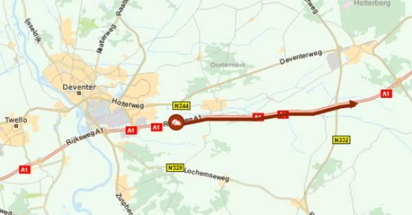 Ongeluk bij Deventer zorgt voor meer dan uur vertraging op A1.