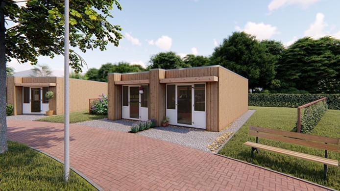 Artist impression van de twaalf 'tiny houses' die eind vorig jaar als een soort hofje aan de Botermanswijk in Dedemsvaart zijn geplaatst.