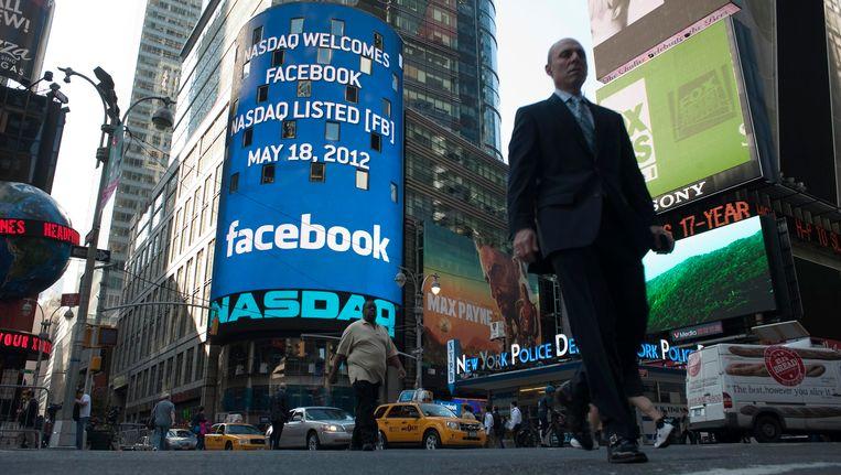 Een reclame voor Facebook in New York Beeld reuters