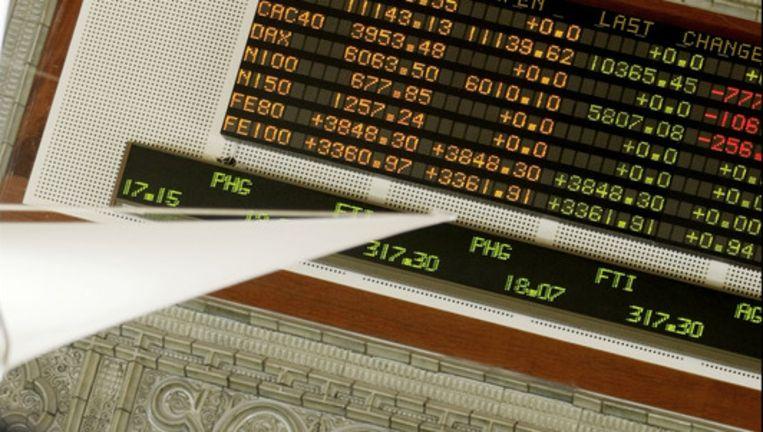 De AEX-index, de hoofdgraadmeter van de Amsterdamse beurs, sloot 0,8 procent hoger op 300,81 punten. Foto ANP Beeld