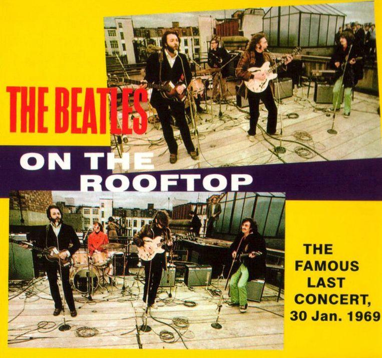 Een poster van het laatste concert van The Beatles. Beeld epa
