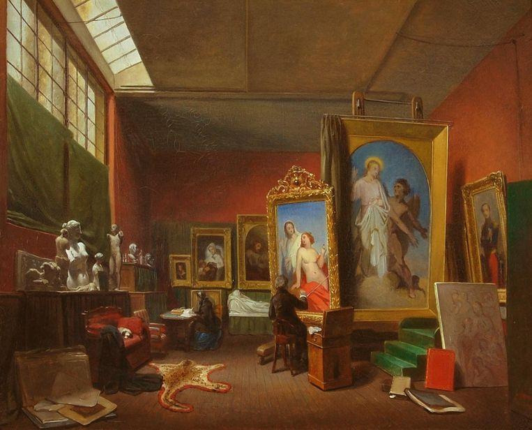 Ary Johannes Lamme, Ary Scheffer aan het werk in het grote atelier bij zijn woonhuis aan de rue Chaptal 16, 1851. Beeld Foto Dordrechts Museum (schenking van H.O.W. de Kat van Barendrecht, 1866)