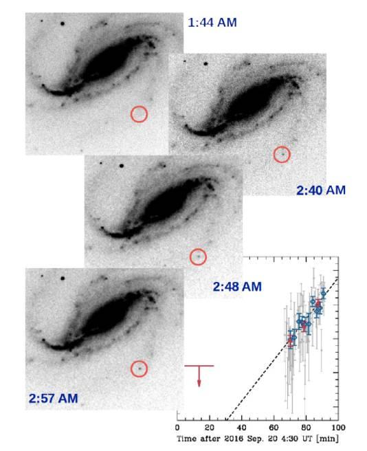 Op verschillende foto's van Buso is de beginfase van de supernova te zien.