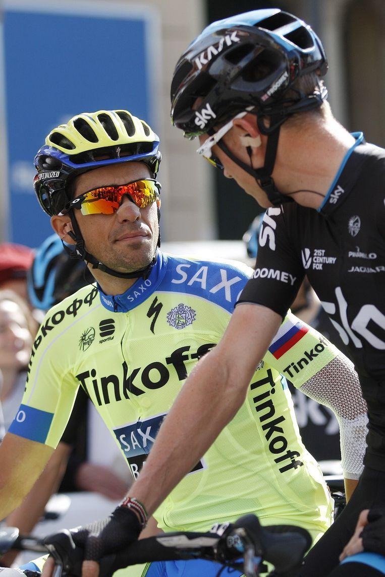 Alberto Contador en Chris Froome Beeld null