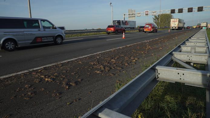 Ongeveer 100 meter lang is het spoor van slachtafval op de A1 vanaf Twello richting Deventer.