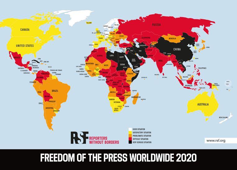De wereldkaart met de index voor persvrijheid. Zwart is slecht, rood iets beter, enzovoorts. Wit is het beste. Beeld Reporters Sans Frontières