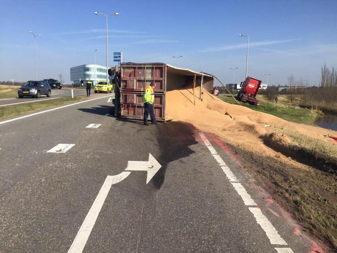 De schade na het ongeval.