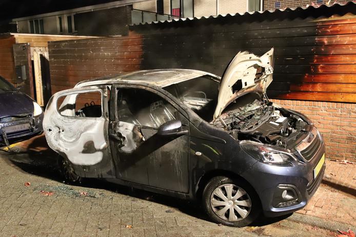 Aan de Weerdenborch in Waardenburg vatte een geparkeerde auto vlam.