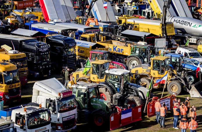 Het bouwprotest in Den Haag.