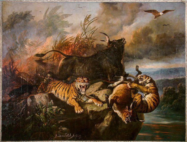 Het schilderij Boschbrand (1849) van de Javaanse schilder Raden Saleh. Beeld .