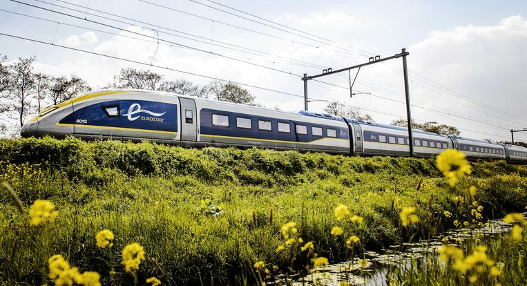 De Eurostar die onder andere tussen Amsterdam, Brussel en Londen rijdt. Beeld ANP