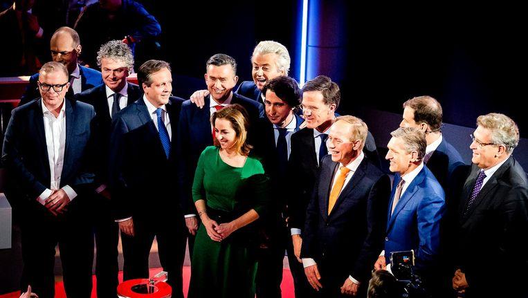 De lijsttrekkers na afloop van het NOS-slotdebat in de Tweede Kamer. Beeld afp