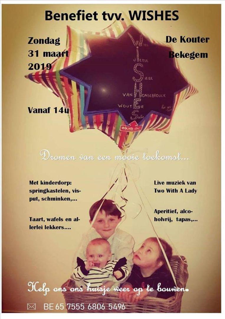 De benefiet vindt plaats op zondag 31 maart in zaal De Kouter in Bekegem.