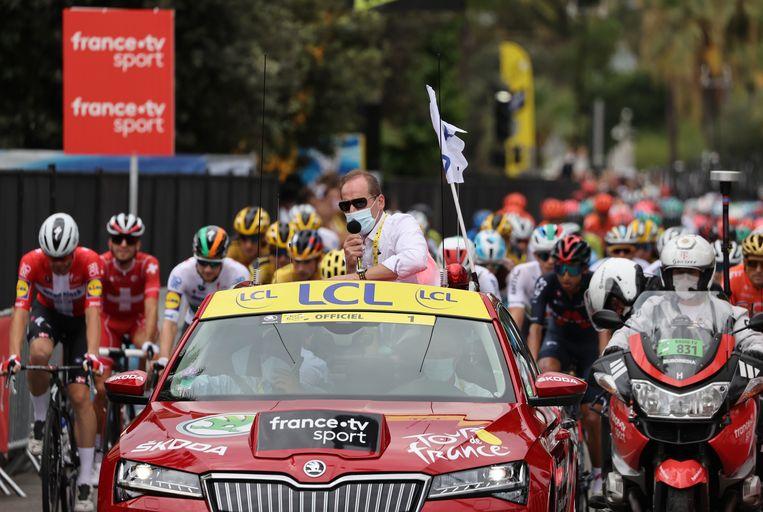 Tour de France-directeur Christian Prudhomme teste afgelopen maandag positief op het coronavirus. Alle renners testten negatief.  Beeld AFP
