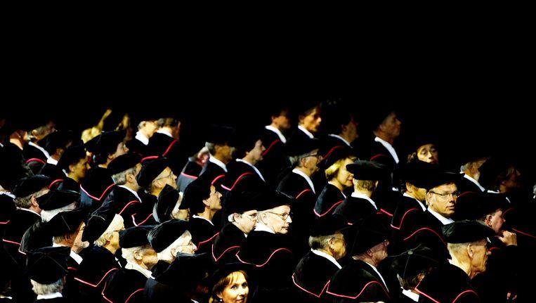 Hoogleraren in de aula van de Radboud Universiteit in Nijmegen voor de opening van het Academisch Jaar in 2011. Beeld anp