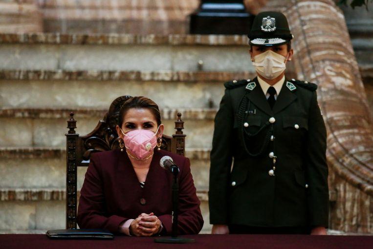 Interim-president Jeanine Añez. Beeld Getty Images
