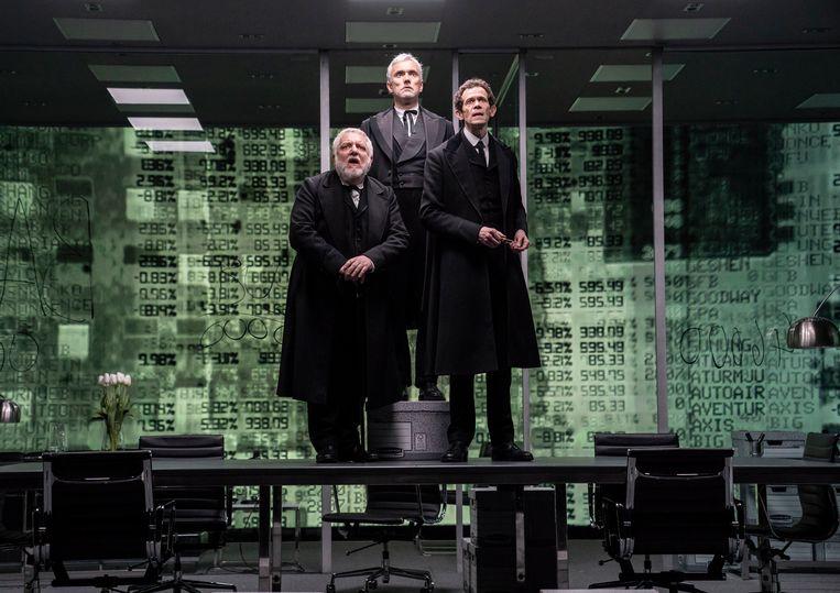 Simon Russell Beale, Ben Miles en Adam Godley in The Lehman Trilogy. Beeld