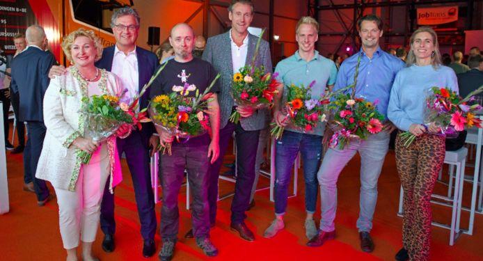 Van links naar rechts genomineerden Annelies Maas, Roland Kortenhorst, Arjan Boeve, Robert Kosse, Dirk van de Worp, Johan van Marle en Nathalie Beck (namens BlueM).