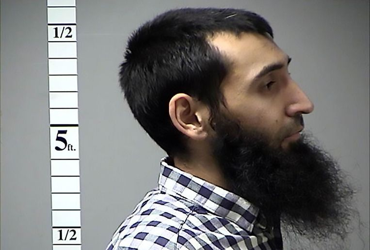 Een van de twee foto's die de politie van St. Charles County in Missouri maakte van Saipov toe hij in 2016 werd gearresteerd omdat hij een uitstaande verkeersboete niet had betaald. Beeld AFP