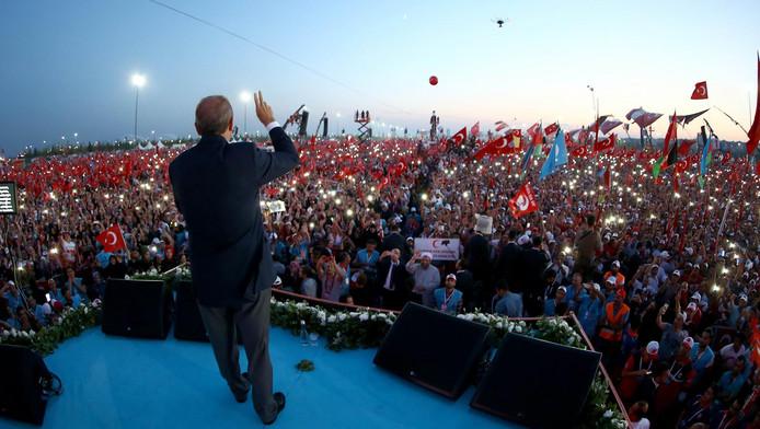 Erdogan tijdens de demonstratie