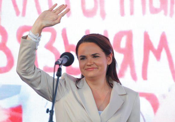 Svetlana Tichanovskaja tijdens de campagne in Minsk.