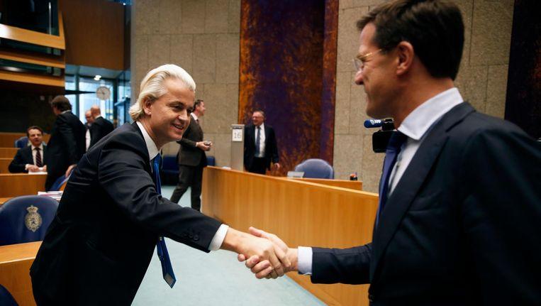 Wilders en Rutte hebben een pact gesloten: ze dreigen weg te blijven bij het debat van RTL als er meer dan vier partijen aan mee mogen doen. Beeld anp