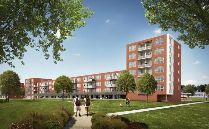 Zo moeten de woningen eruit gaan zien die tussen de Jan Vermeerstraat en de Hobbemakade worden opgetrokken. Zij grenzen aan een stadspark dat langs de Gerard Doustraat loopt. artist impression Toko Projectontwikkeling