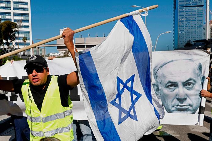 De Israëlische betoging was in de buurt van de woning van premier Netanyahu.