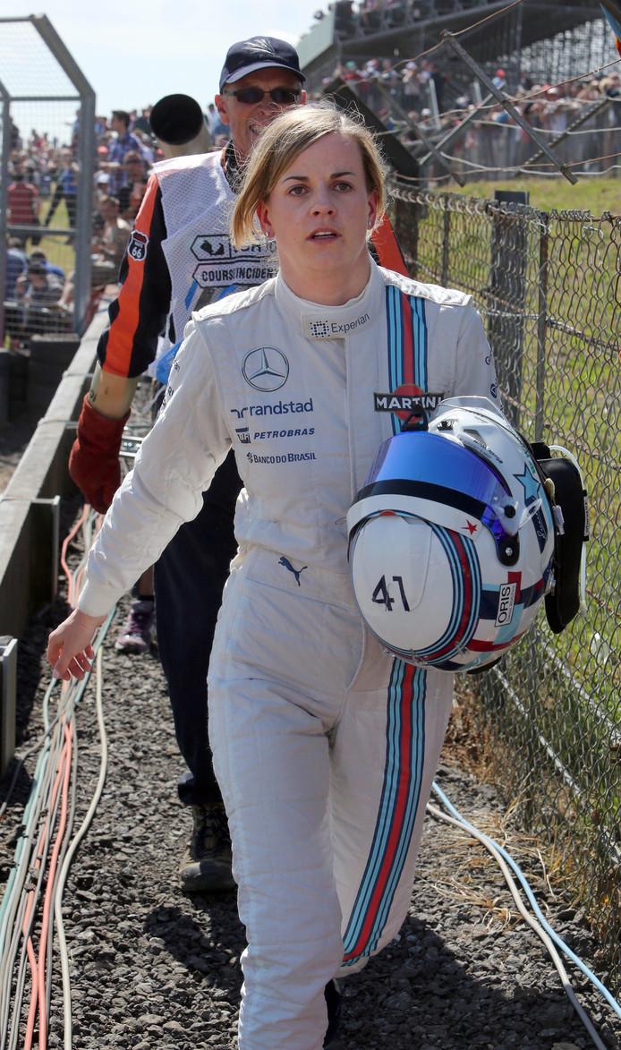 Susie Wolff (Williams) bij de eerste vrije training voor de Grand Prix van Groot-Brittannië in 2014.