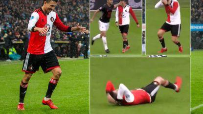 """Feyenoorder die na tikje tegen het hoofd theatraal neergaat: """"Soms doe je wat doms op het veld en nu sta ik voor lul"""""""