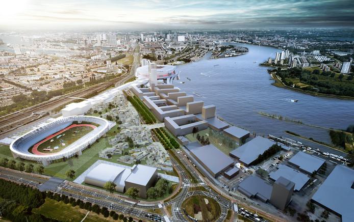 Feyenoord City, met op de voorgrond de verbouwde Kuip, woningbouw en de Strip naar het nieuwe stadion.
