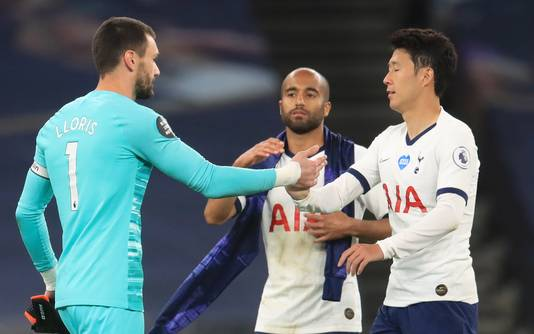 Hugo Lloris (links) Son Heung-Min (rechts) na het duel met Everton.