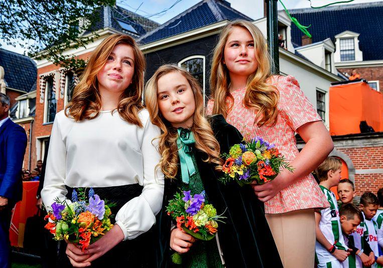 De prinsessen tijdens Koningsdag 2018 in Groningen. Beeld ANP