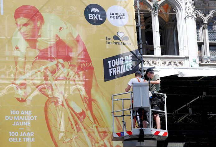 Les ouvriers étaient à pied d'oeuvre ce mercredi sur la Grand-Place de Bruxelles.
