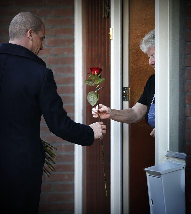 PvdA-leider Diederik Samson gaat met rode rozen de huizen langs om campagne te voeren voor zijn partij tijdens de herindelingsverkiezingen in de Friese gemeente. Beeld anp