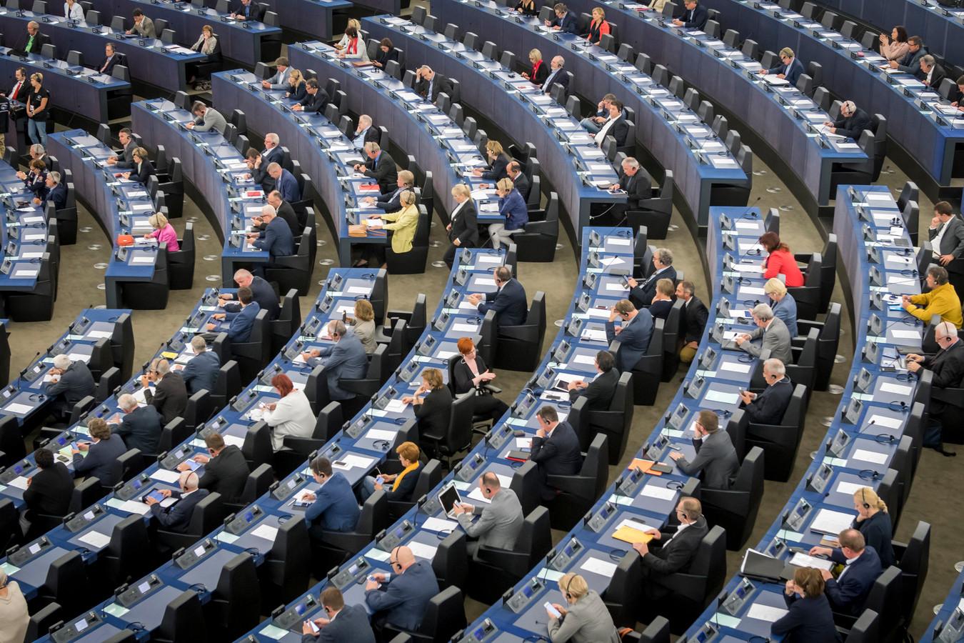 De vergaderzaal van het Europees Parlement in Straatsburg.