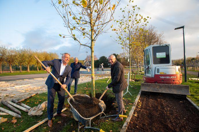 (vlnr) Burgemeester Patrick Dewael, schepen van Openbare Werken Guy Schiepers en schepen van Milieu Patrick Jans helpen een handje bij de beplanting.