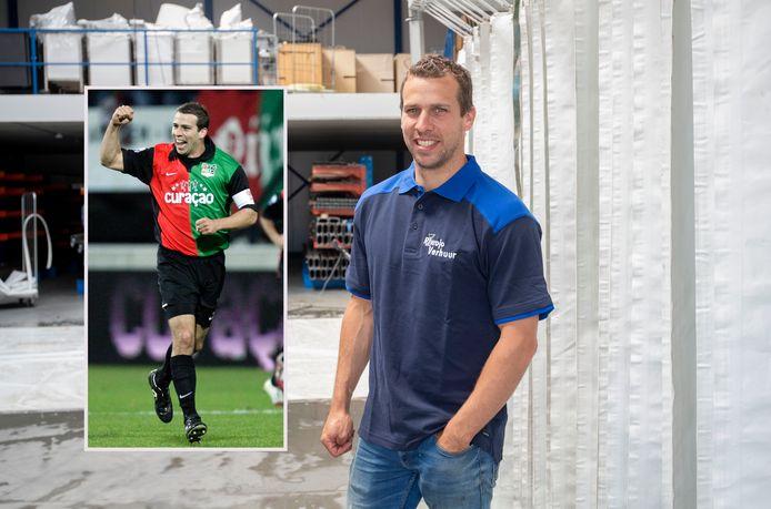 Peter Wisgerhof in het shirt van NEC op archiefbeeld en in dat van het familiebedrijf in Wageningen.
