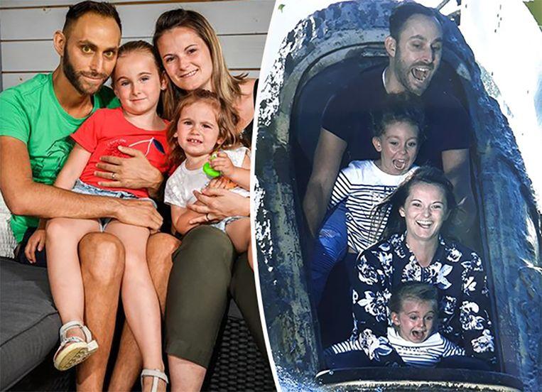 """Sergio Molina Cabanillas, Maaike Rens en hun kindjes Nerea (5,5) en Liana (bijna 2). De meisjes weten dat hun vader binnenkort sterft. Of het ook echt doordringt, is niet duidelijk. """"Papa slaapt veel"""", zeggen ze."""