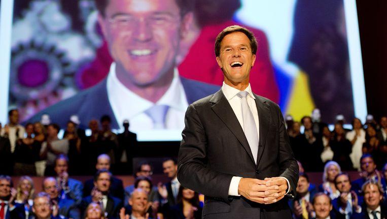 Mark Rutte op het congres in Rotterdam Beeld EPA