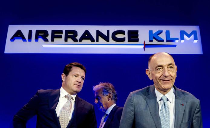 Pieter Elbers (ceo KLM) en Jean-Marc Janaillac (ceo Air France - KLM) vorig jaar bij de presentatie van de halfjaarcijfers