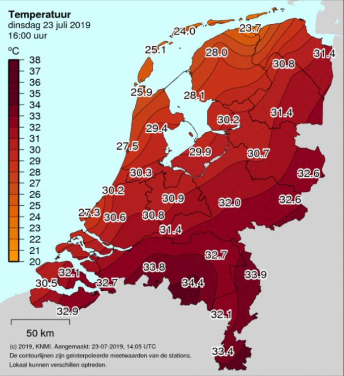 Veel dertigers in Brabant gemeten dinsdagmiddag